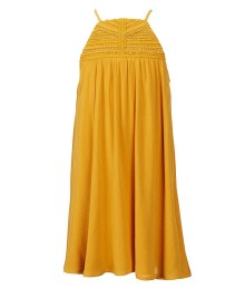 Gb Girls Mustard Halter Neck Pleated Flared Dress