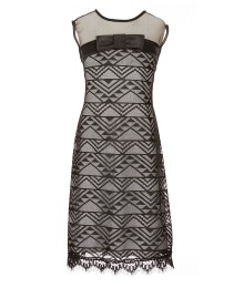 Teeze Me Girl Black Lace Illusion Dress With Nude Underlay