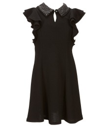 Bonnie Jean Black Wt Ruffle Sleeve & Stoned Collar A Line Dress