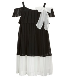 Bonnie Jean Black/White Color Block Pleated Cold Shoulder Dress
