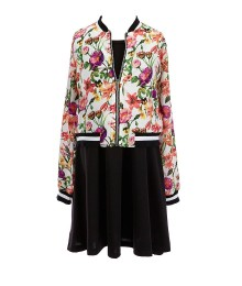 Xtraordinary 2Pc Floral Bomber Jacket Wt Dress