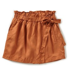 Gb Girls Brown Faux Wrap Satin Shorts