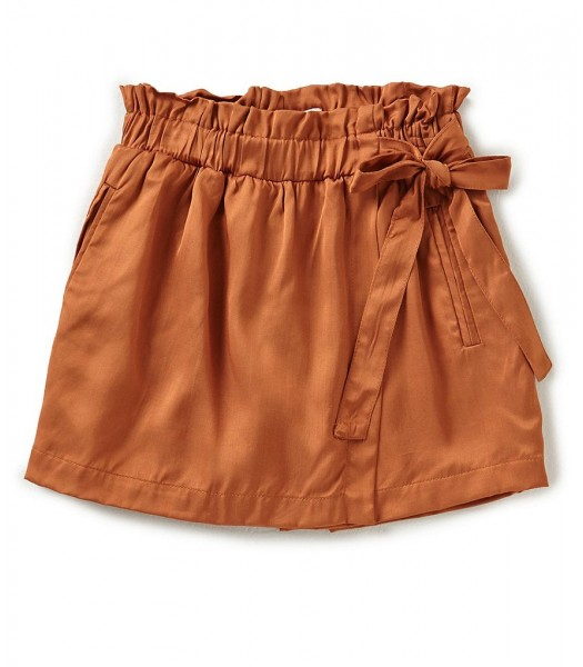 Gb Girls Brown Faux Wrap Satin Shorts