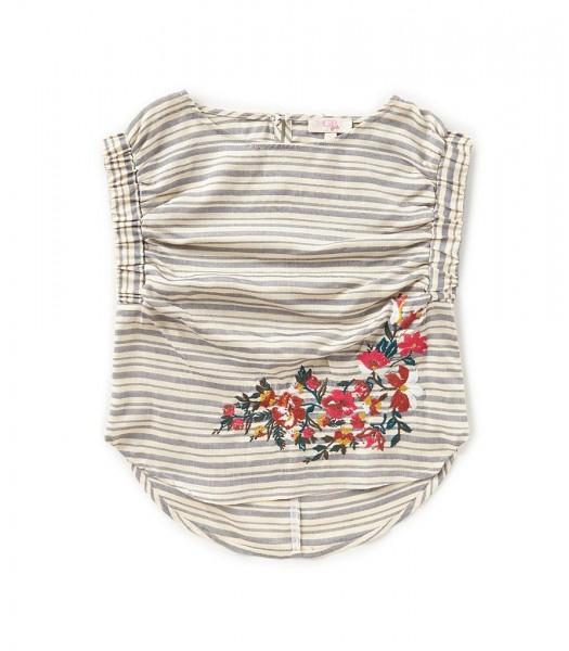 Gb Girls Grey/Cream Striped Embroidered Hem Top