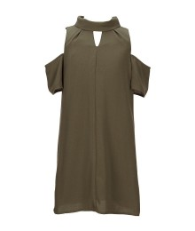 Gb Girls Olive Green Cold Shoulder Dress - Small
