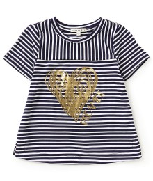 Copper Key Black/White With Gold Heart Dreamer Top
