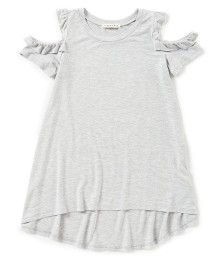 Copper Key Girls Grey Cold Shoulder Ruffle Top - Large