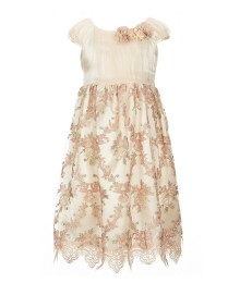 Bonnie Jean Cream Embroidered Dress With Lace Border