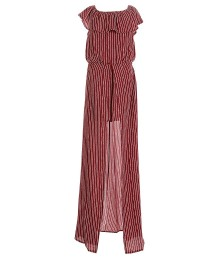 Gb Girls Wine Stripped Ruffled Neck Maxi Romper - Small - 8Y