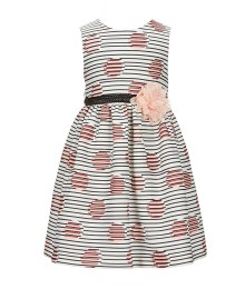Marmellata Navy/Cream Stripped Dress With Pink Lace Rosette