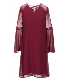 I.N Girl Wine Chiffon Dress With Lace Up Neck And Bell Sleeve