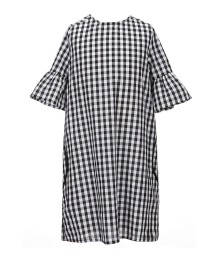 Soprano Black/White Check Shift Dress Wt Bell Sleeve - Medium