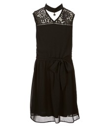 I.N Black Chiffon Dress With Lace Illusion N Gigi Neck