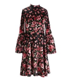 Gb Girls Black Floral Velvet Dress With Bell Sleeve