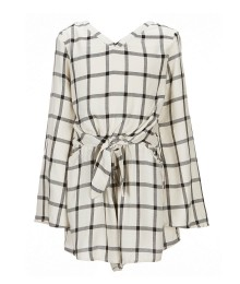 Gb Girls White/Black Plaid Tie Fron Romper - Medium 10-12Y