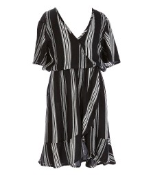 Zoe & Rose Black/Ivory Faux Wrap Dress