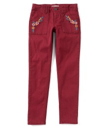 Copper Key Girls Wine Embroidered Trim Jeans