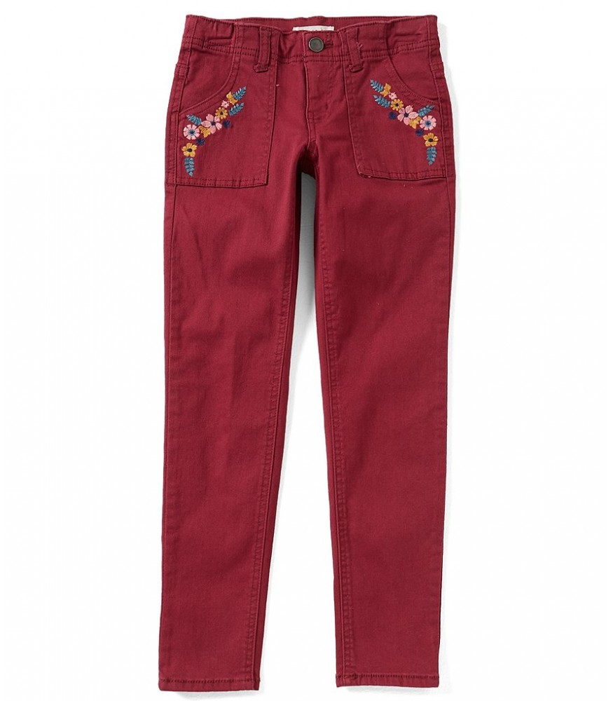 6f3a5837d14d Copper Key Girls Wine Embroidered Trim Jeans