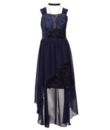I.N Girls Navy Velvet Dress With Chiffon Train N Necklace
