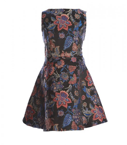 Gb Girls Black Jacquard With Multi Floral Design Flared Dress  Little Girl