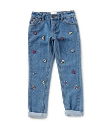 Gb Girls Light Blue Jewelled Roll Up Jeans