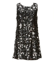 Zunieblack/Silver Sequin Sleeveless Shift Dress
