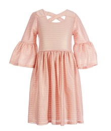 Bonnie Jean Peach Bell-Sleeve Foiled Striped Aline Dress