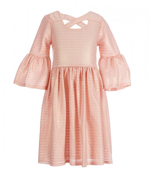 Bonnie Jean Peach Bell-Sleeve Foiled Striped Aline Dress Little Girl