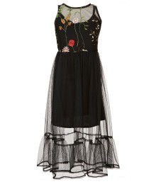 Rare Edition Black Mesh/ Floral Emdry Dress With Camisole Under