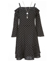I.N Girl Black Polka Dotted Cold Shoulder Dress Wt Necklace
