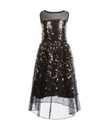 Poppies & Roses Black Net With Gold Sequin Hi-Lo Dress