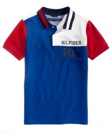 Tommy Hilfiger Blue/Wht/Red Multi Polo  Little Boy