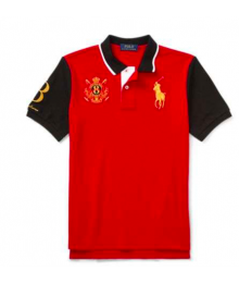 Polo Ralph Lauren Red With Gold Pony & Black Sleeves/Collar