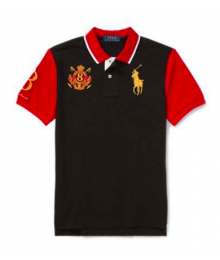 Polo Ralph Lauren Black With Gold Pony & Red Sleeves/Collar