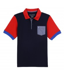 Nautica Navy Polo With Red Collar And Chambray Pocket