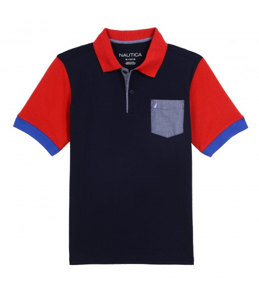Nautica Navy Polo With Red Collar And Chambray Pocket  Little Boy
