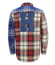 "Tommy Hilfiger Blue/Red Multi Plaid Shirt With ""H"" Back Sign"