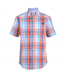 Chaps Orange/Coral With White & Blue Multi Plaid Short Sleeve Shirt