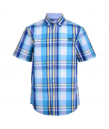 Chaps Turq Wt Yellow/Blue Multi Plaid Short Sleeve Shirt