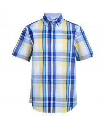 Chaps Yellow Plaid Short Sleeve Shirt  Big Boy