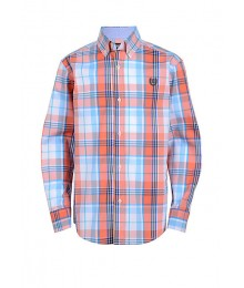 Chaps Orange Multi Plaid L/S Shirt  Little Boy