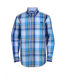 Chaps Blue Yellow White Multi Plaid L/S Shirt