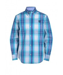 Chaps Blue Turquoise White Multi Plaid L/S Shirt