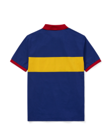 Polo Ralph Lauren Blue With Yellow Polo Chest Stripe And Red Collar Performance Polo Shirt