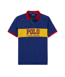 a99c60d7a Polo Ralph Lauren Blue With Yellow Polo Chest Stripe And Red Collar  Performance Polo Shirt ...