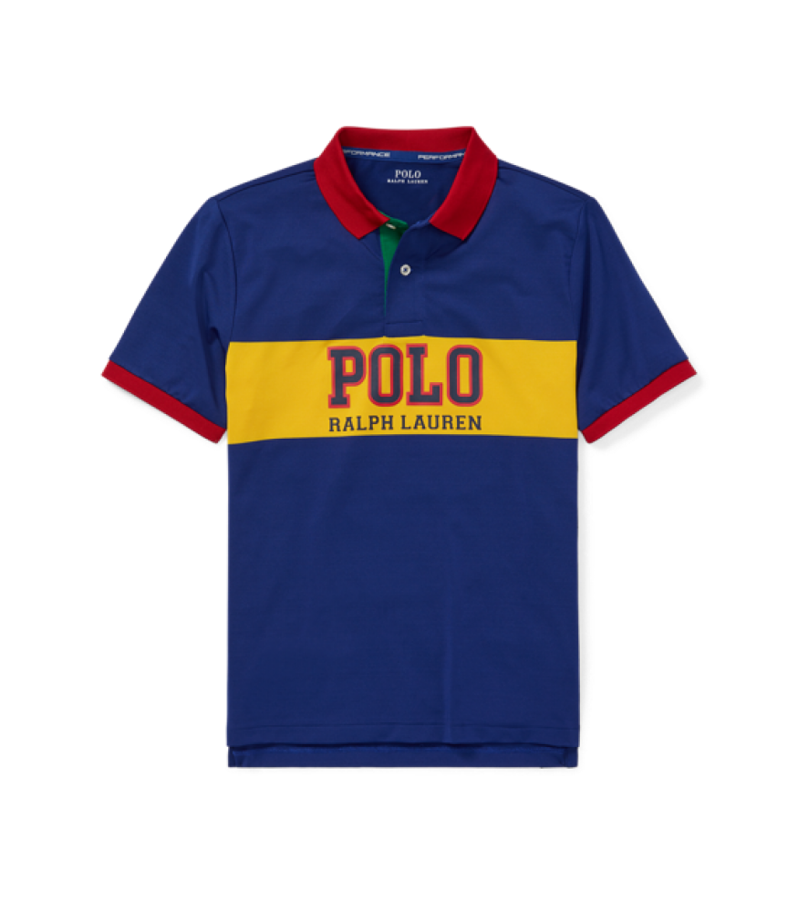 527d52970 Polo Ralph Lauren Blue With Yellow Polo Chest Stripe And Red Collar  Performance Polo Shirt. ₦12