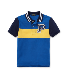 "Polo Ralph Lauren Blue /Yellow With ""P"" Enbroidered Logo Polo Shirt"