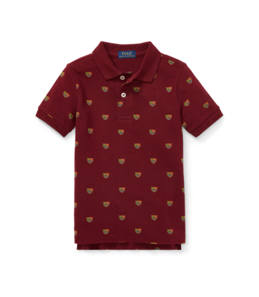 Polo Ralph Lauren Red With Emblem Print Polo Shirt