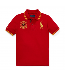 Polo Ralph Lauren Red With Gold Horse & Emblem Polo