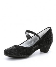 Nina Girls Black Jewelled Satin Dress Shoes
